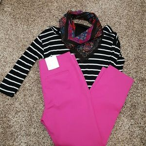 NWT hot pink skinny ankle pant, 8 regular